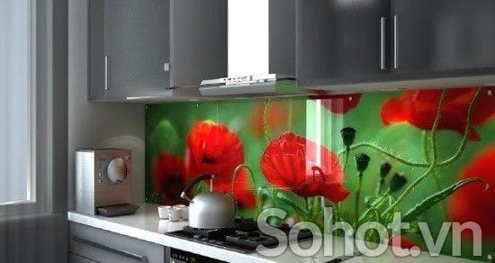 Kính bếp 3d hoa đẹp MÊ MẨN, bừng sáng không gian phòng bếp
