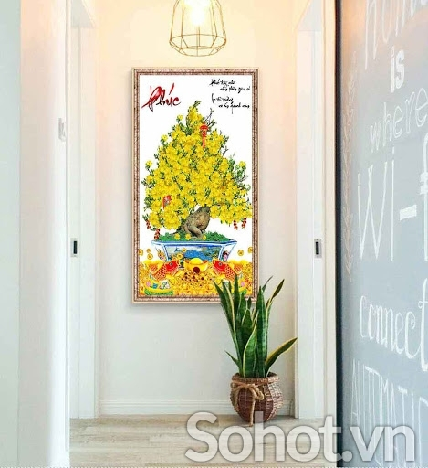 tranh cây mai vàng gạch tranh dán tường - VB5