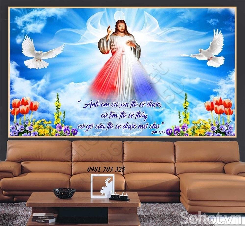 Tranh gạch 3D phòng khách- tranh lòng thương xót Chúa