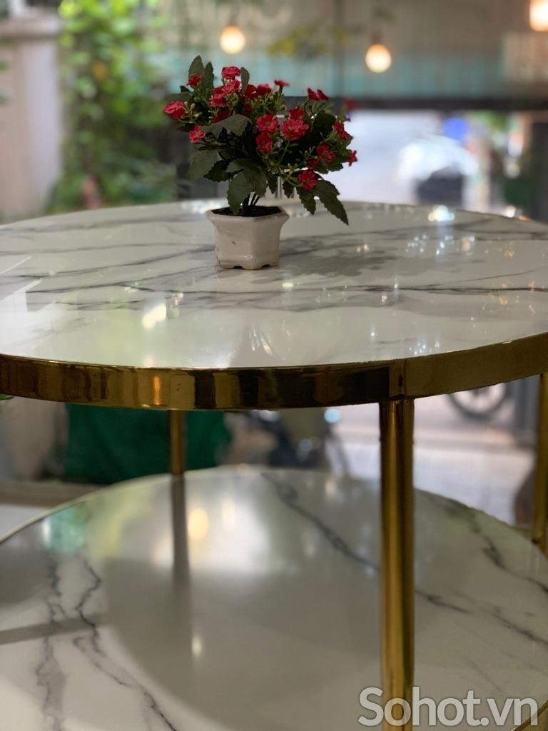 Bàn trà 2 tầng inox mạ vàng PVD HX5