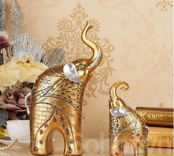 Cặp voi vàng trang trí -  tân cổ điển