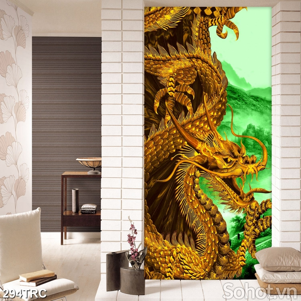 Tranh Rồng vàng 3D ốp tường trang trí