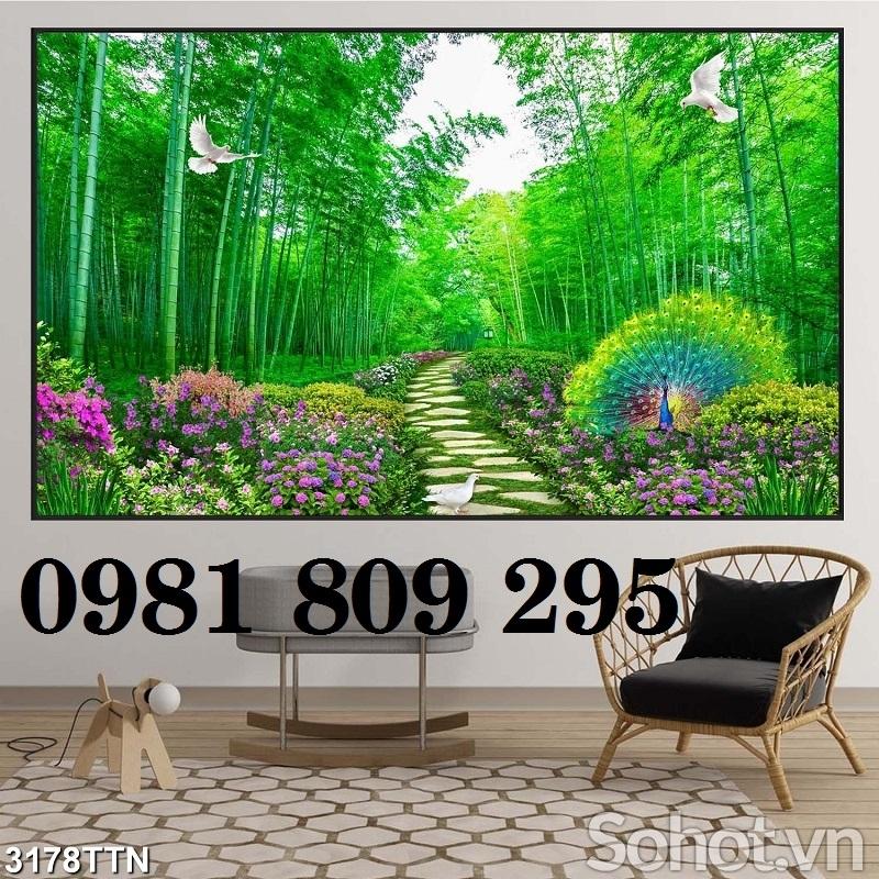 Tranh gạch men rừng tre xanh