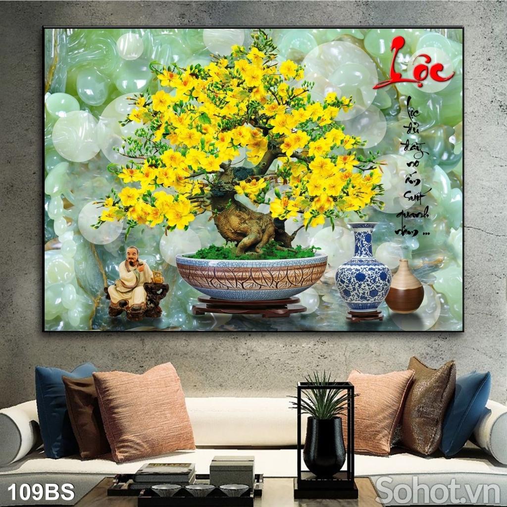 Gạch 3D hoạ tiết hoa mai vàng trang trí phòng