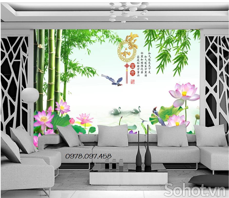 Tranh gạch men hoa sen cây tre trang trí phòng khách