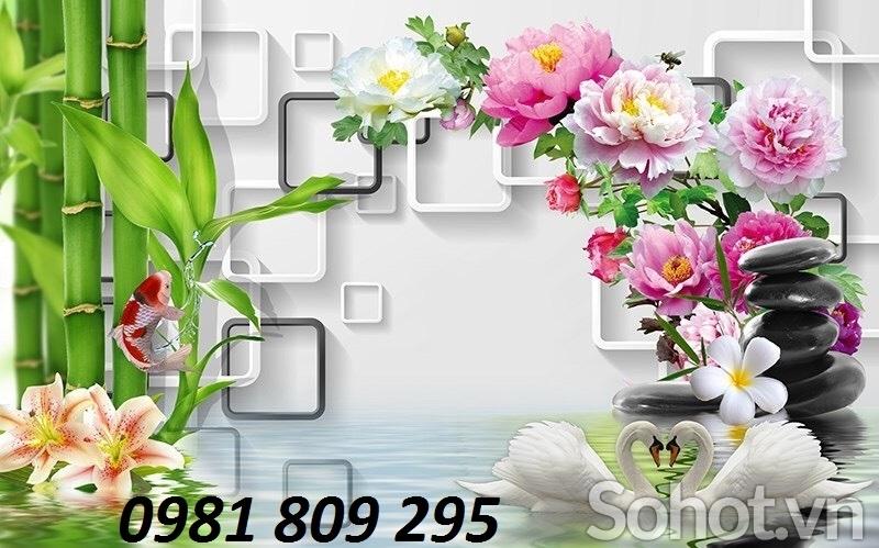 tranh 3d hoa sen, gạch tranh 3d trang trí