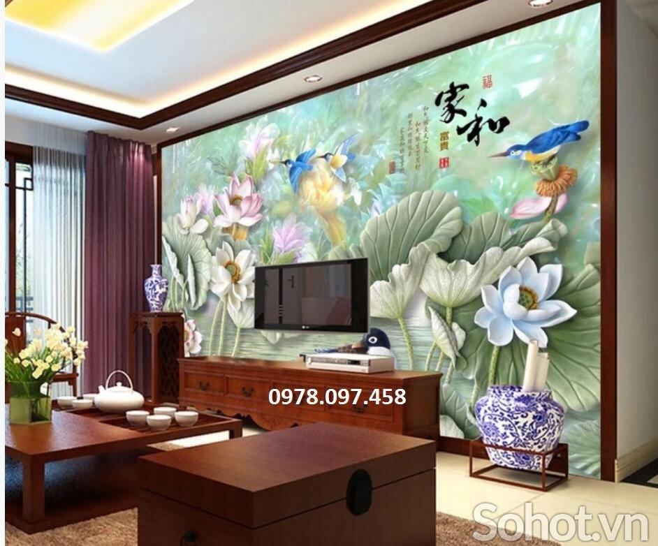 Gạch tranh - tranh gạch 3D hoa sen