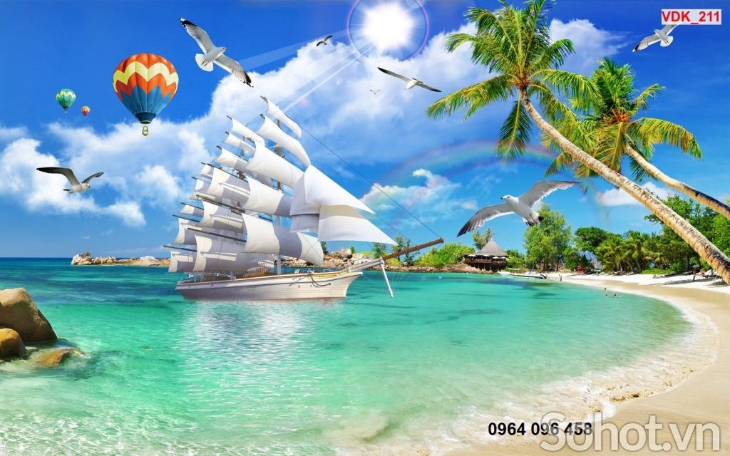 tranh gạch 3d phong thủy thuyền buồm - HBV4
