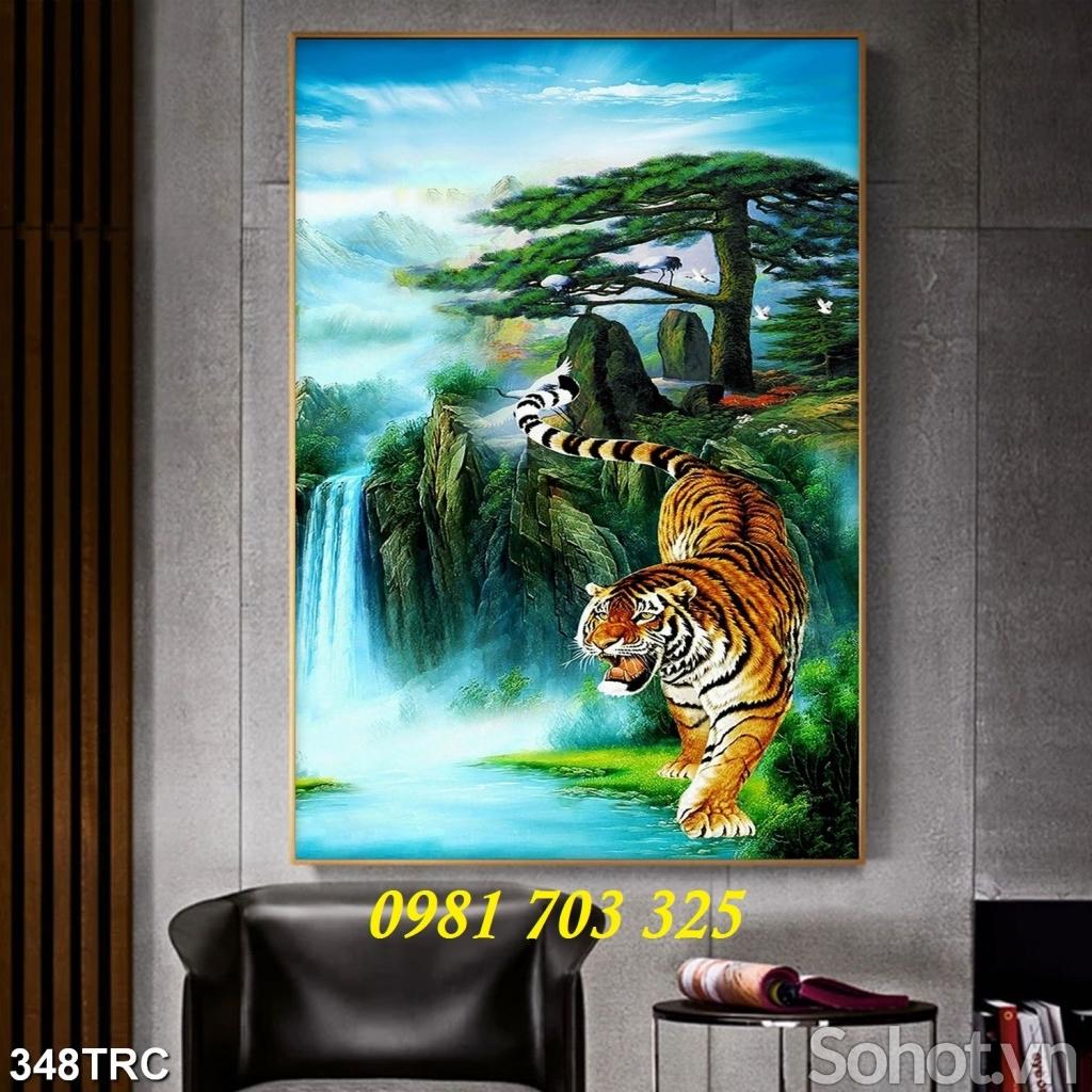 tranh hổ đại bàng- gạch tranh phong thủy