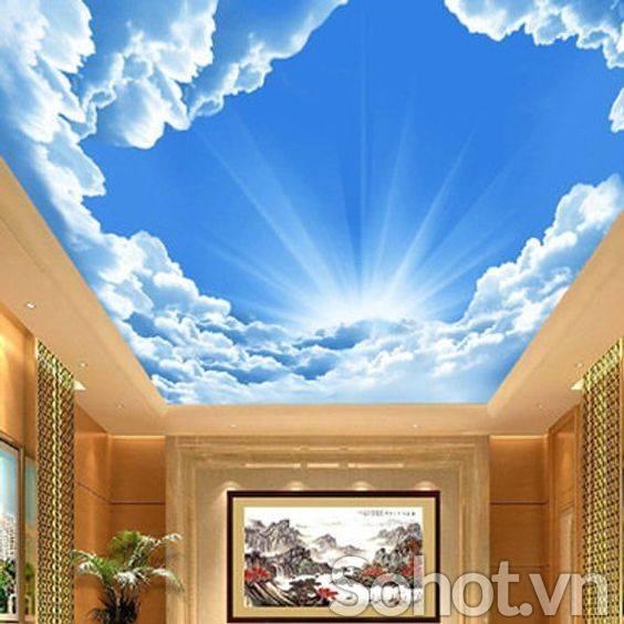 Trần 3d bầu trời xanh cho không gian TƯƠI MÁT - VUI NHỘN