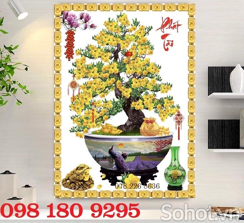 Gạch tranh hoa mai ốp tường