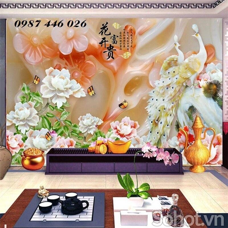 Tranh hoa mẫu đơn 3d, gạch tranh ốp tường- Hồ Chí Minh