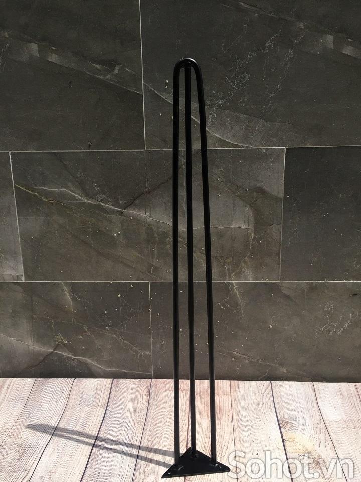 Chân bàn sắt Hairpin sơn tĩnh điên 72cm (loại 3 thanh sắt)