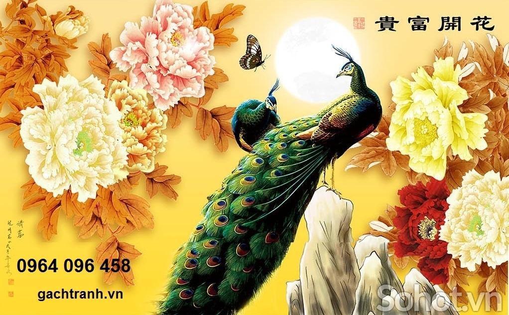tranh chim công - gạch tranh chim công