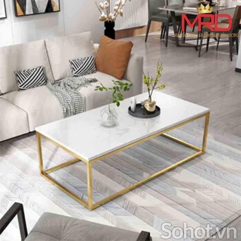Bàn sofa chữ nhật mạ vàng HX3