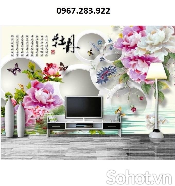 Tranh gạch 3D hoa mẫu đơn ốp tường