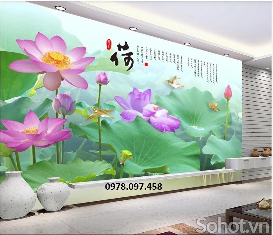 Tranh gạch - tranh hoa sen