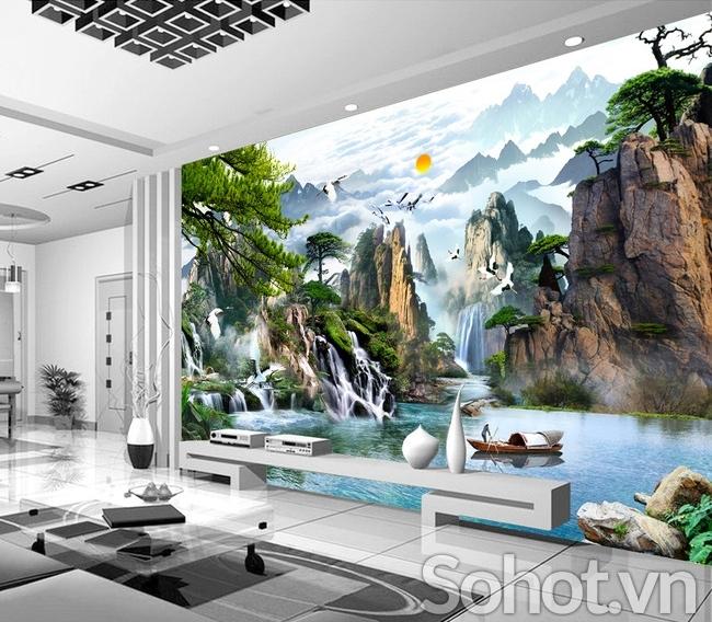 Tranh phong cảnh-Tranh gạch men phòng khách