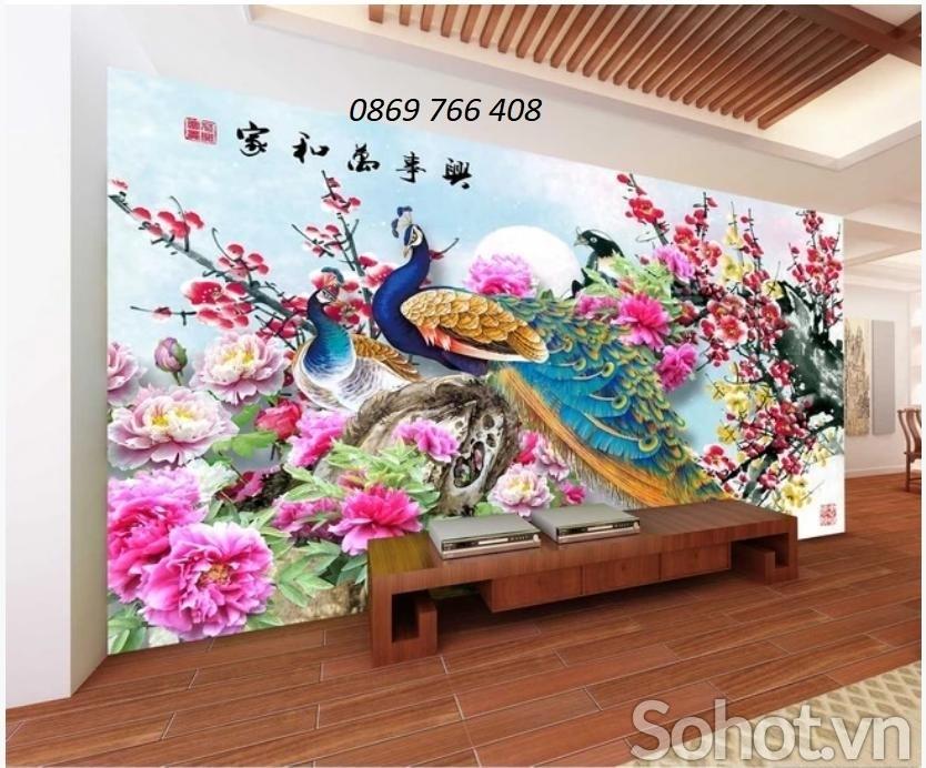 Tranh 3D chim công-tranh treo tường