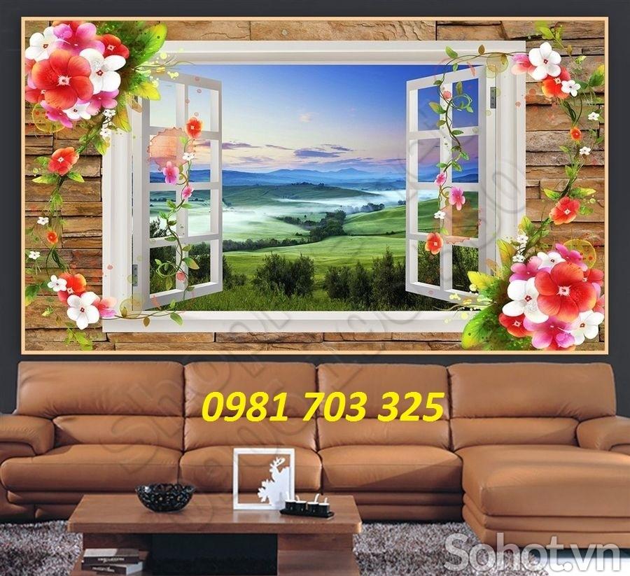 tranh 3D trang trí, gạch tranh cửa sổ