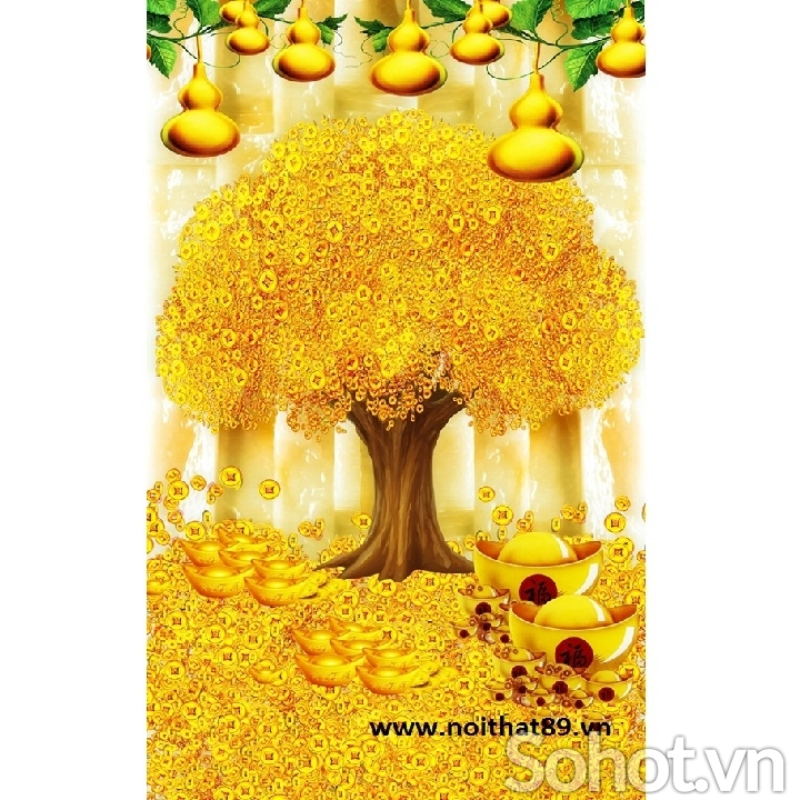 Gạch tranh cây tiền vàng