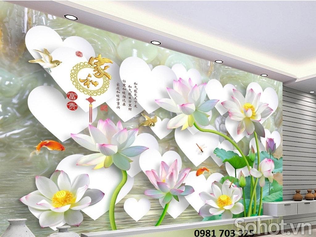 Gạch tranh 3D- tranh hoa sen