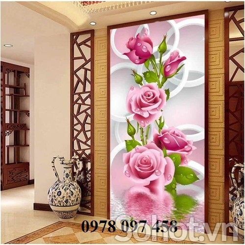 Tranh trang trí - tranh gạch hoa hồng