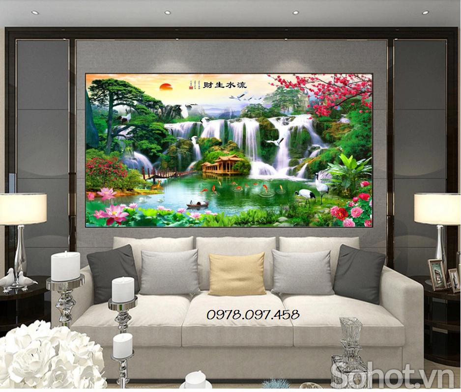 Gạch tranh 3d trang trí phòng khách mẫu trang phong cảnh
