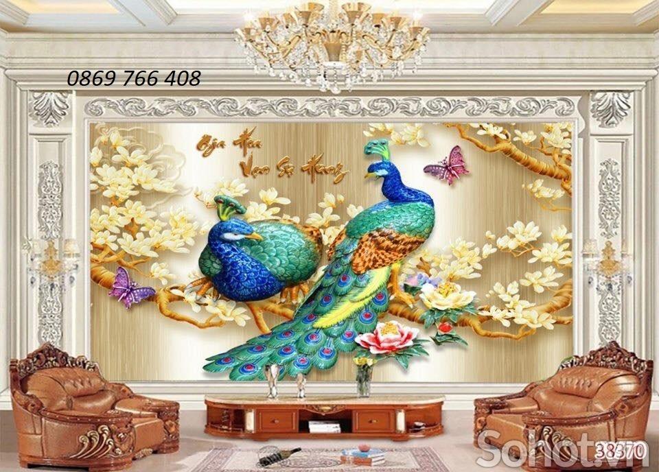 Tranh chim công 3D-gạch tranh ôp tường