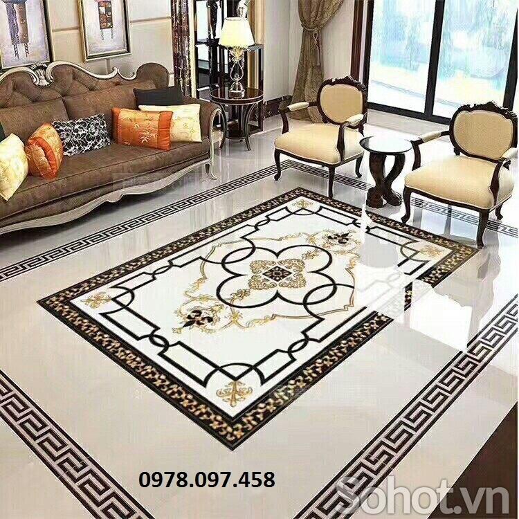 thảm trang trí phòng khách bằng gạch men