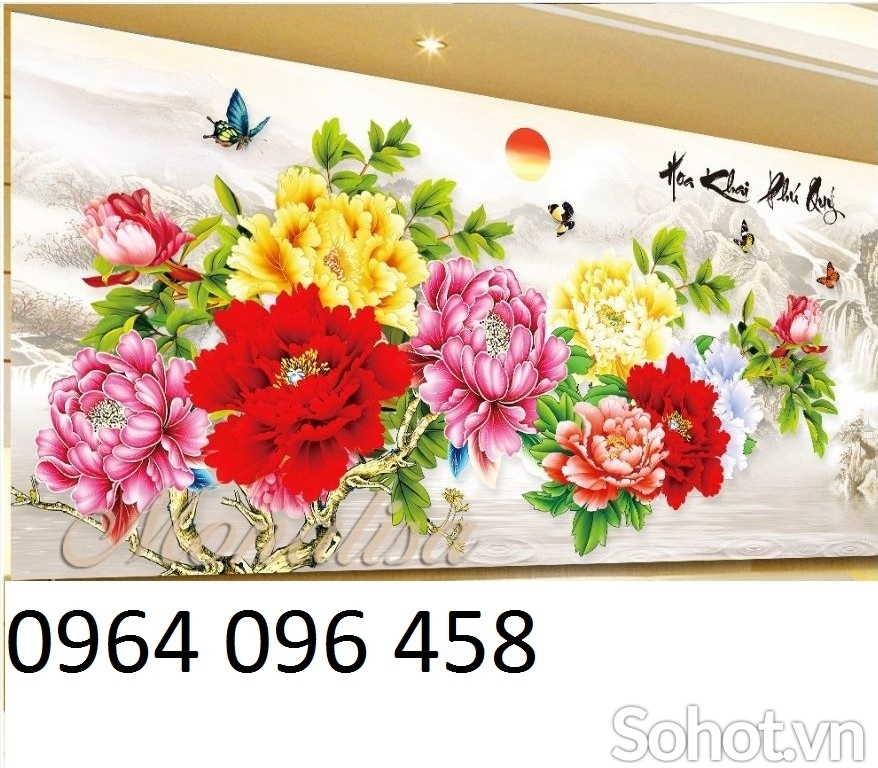 tranh gạch 3d ốp tường hoa mẫu đơn - HN66