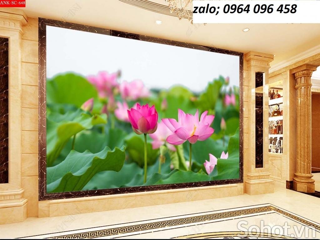 Mẫu tranh hoa sen - tranh gạch 3d hoa sen - 76CVR
