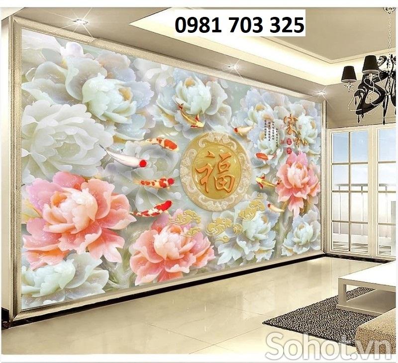 Gạch tranh ốp tường- Tranh hoa mẫu đơn