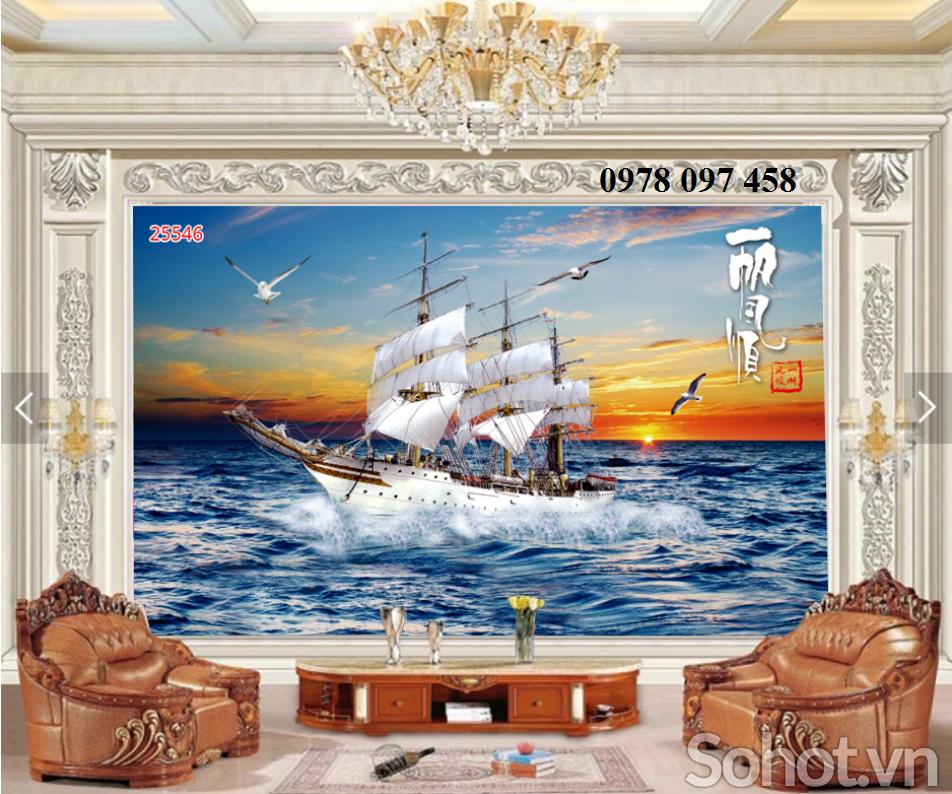 Tranh thuyền buồm - tranh gạch