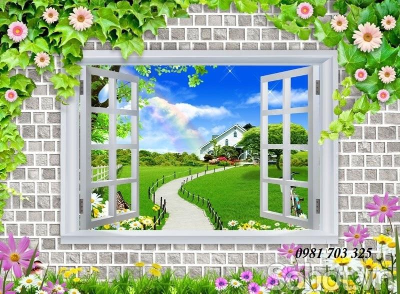 tranh gạch 3D cửa sổ, gạch tranh ốp tường