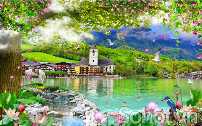 Tranh trang trí phòng khách- tranh gạch men phong cảnh