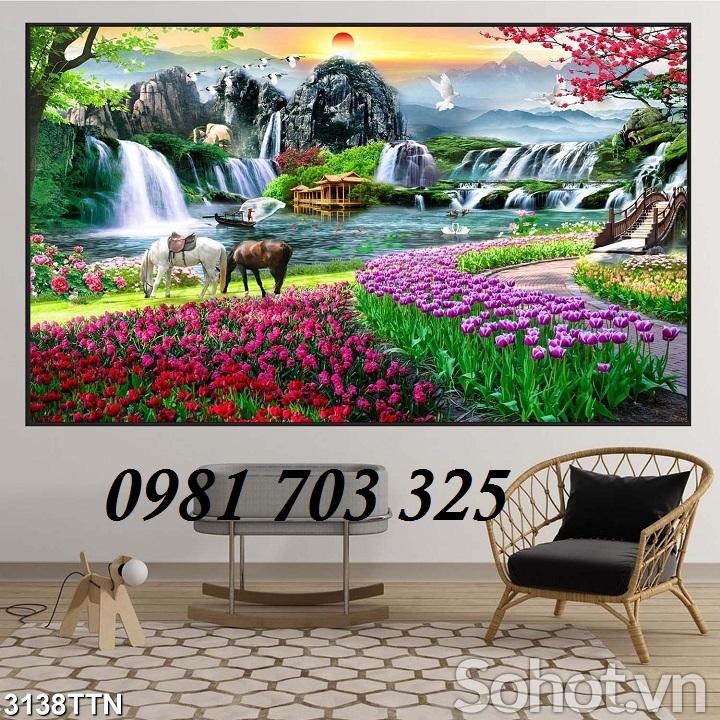 tranh phong cảnh sơn thủy hữu tình, tranh gạch men phong cảnh
