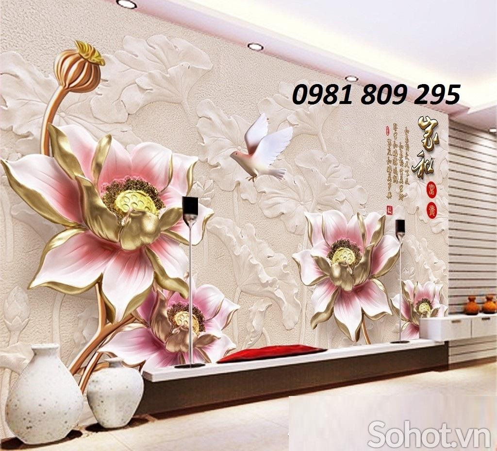tranh gạch 3d ốp tường phòng khách cảnh