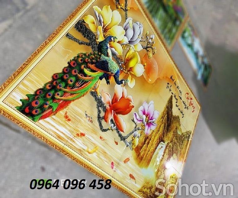 Tranh chim công - tranh gạch 3d chim công - 988XP