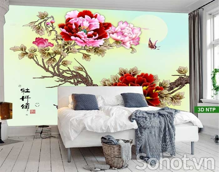 Tranh phong thuỷ hoa mẫu đơn 3D ốp tường