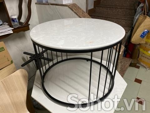 Bàn trà HX3 chân sắt tĩnh điện mặt đá