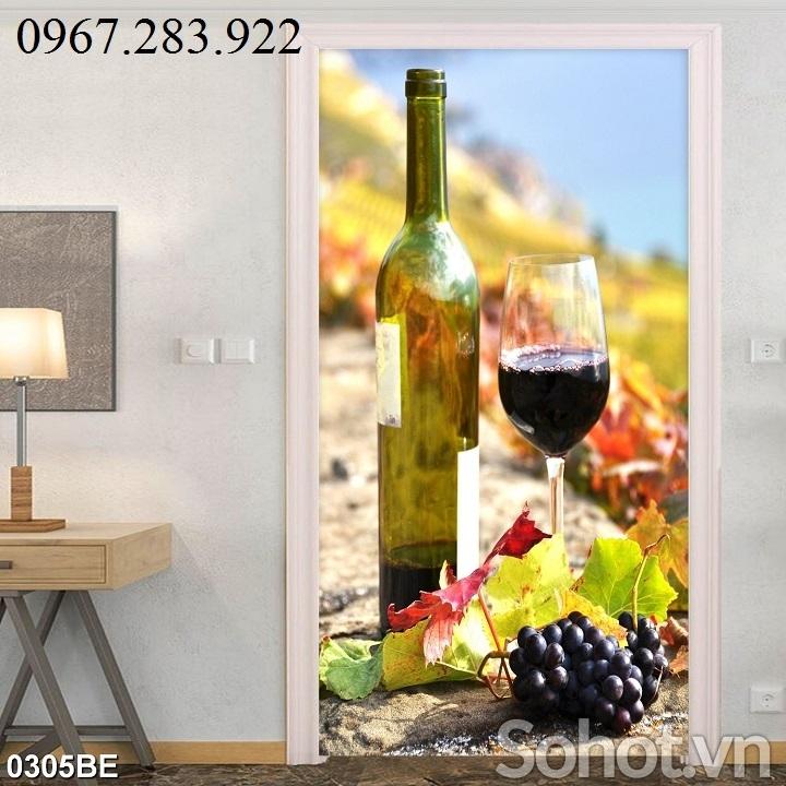 Tranh trang trí phòng bếp hoạ tiết hoa quả và chai rượu