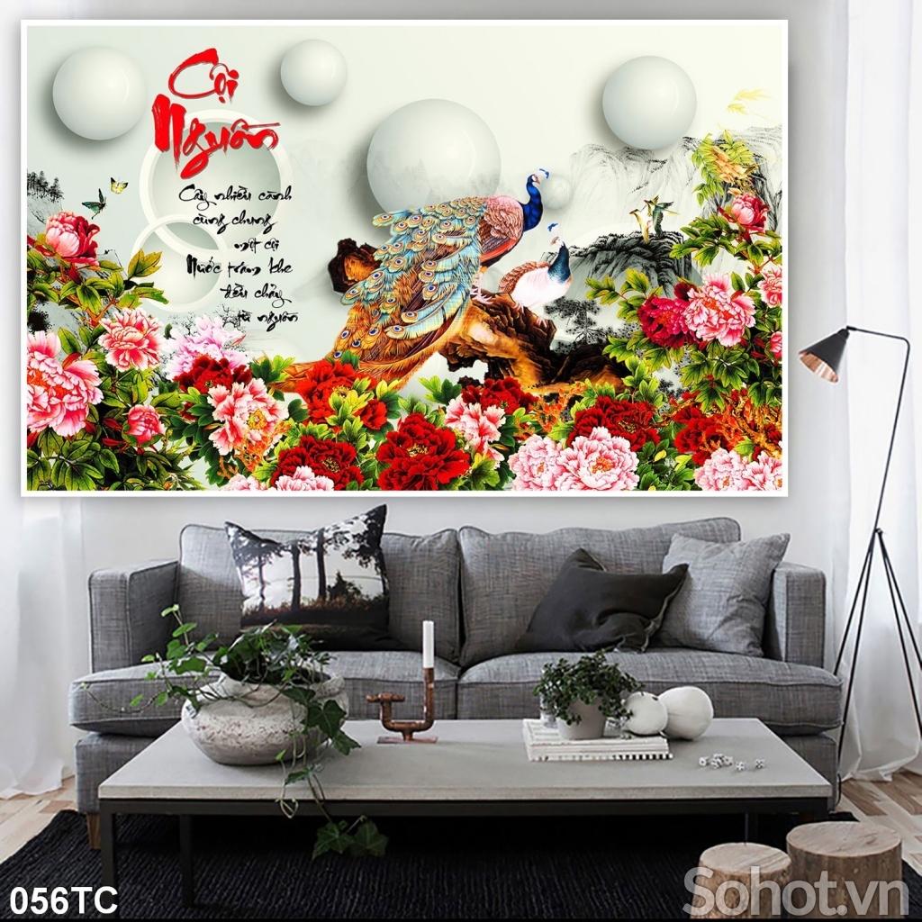 Tranh hoa mẫu đơn-Tranh gạch