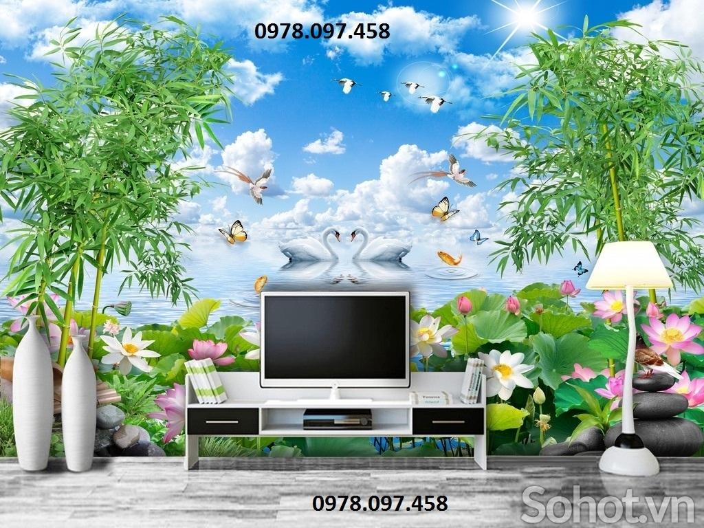 Tranh gạch phong cảnh tranh trí phòng khách