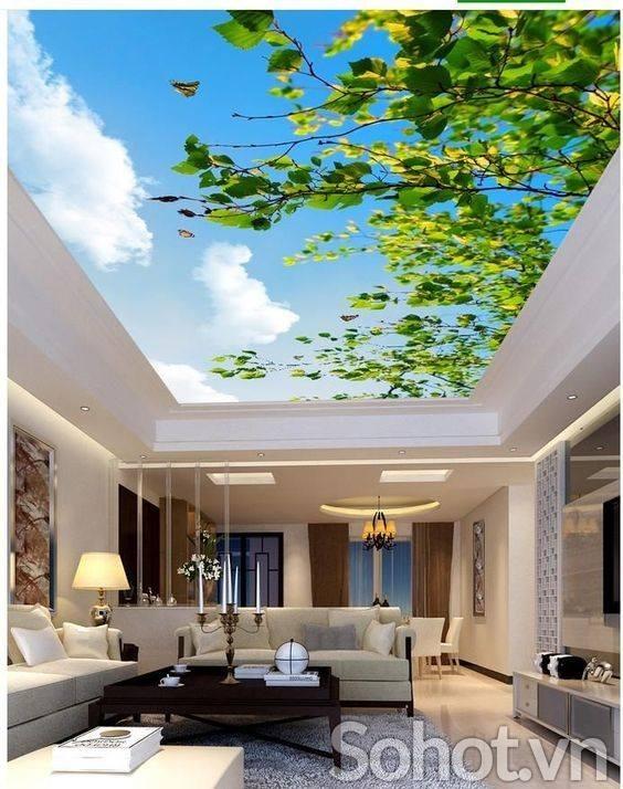 Mẫu Trần nhà 3d cây xanh, cho ngôi nhà GẦN GŨI với thiên nhiên