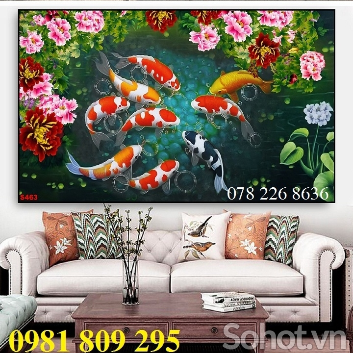 Gạch tranh 3d - tranh 3d cá chép quần hội -HH86