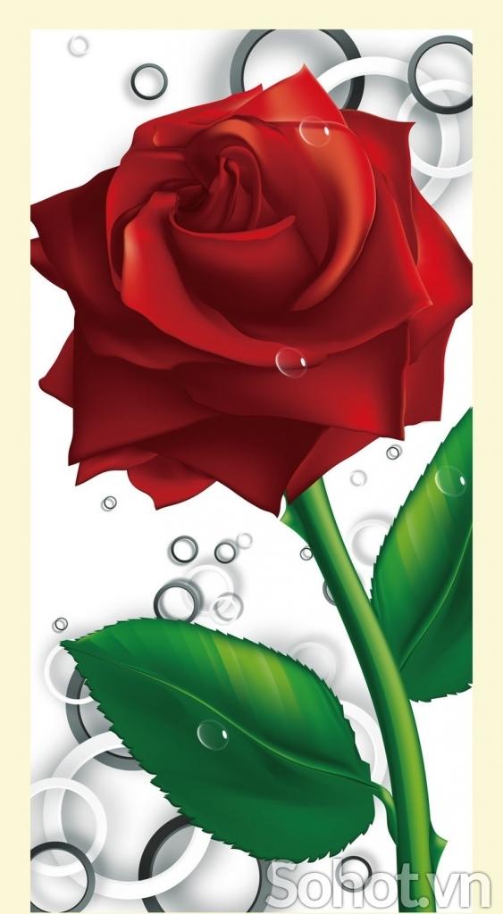tranh gạch 3d hoa hồng