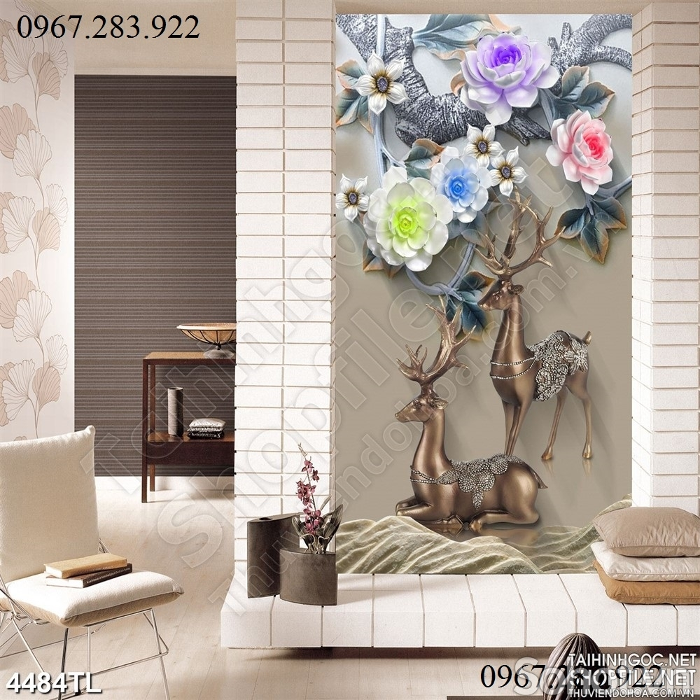 Gạch ốp tường 3d hoa mẫu đơn