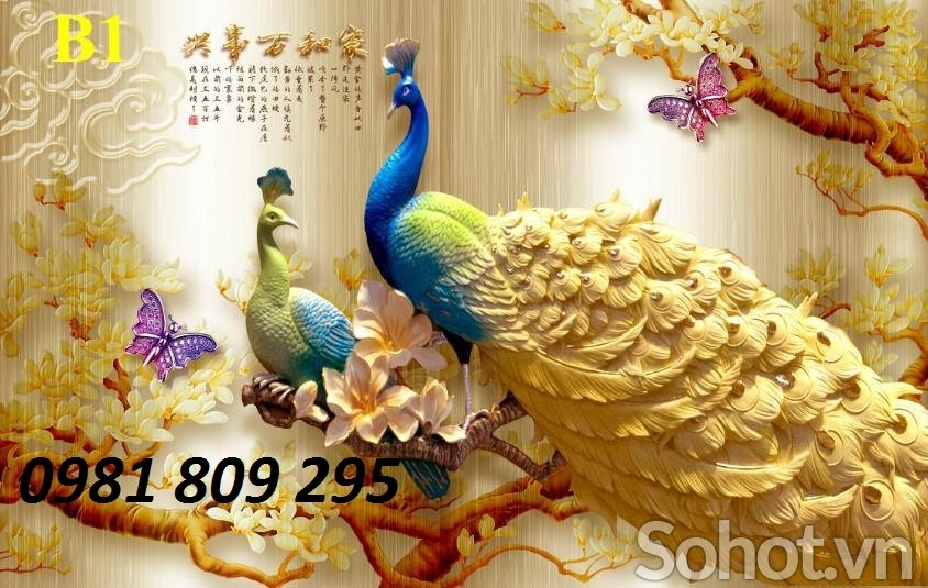 tranh chim công sứ ngọc