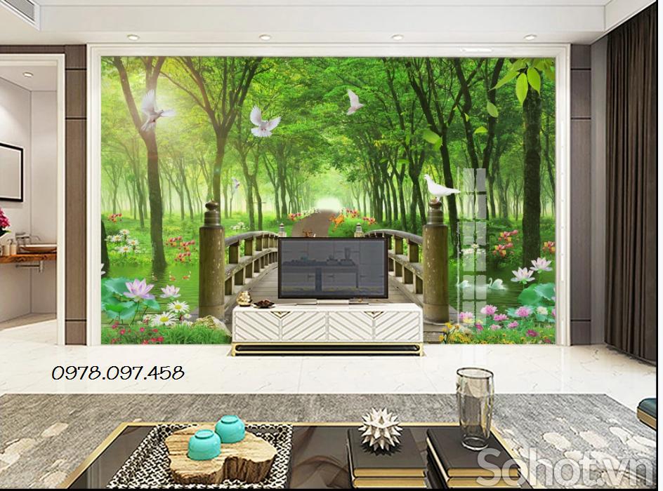 Gạch tranh 3d phòng khách
